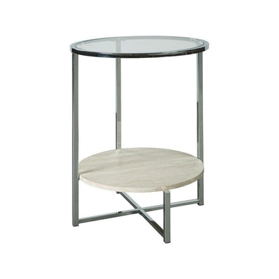 "48"" Round Glass Top End Table with Stone Shelf,Clear & Chrome By Casagear Home"
