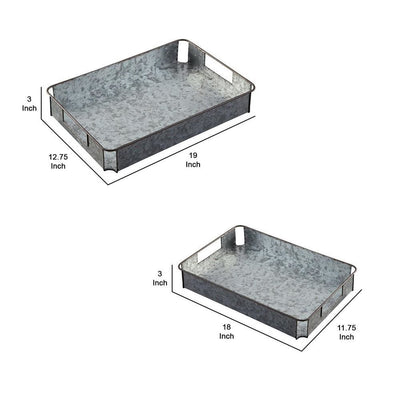 Rectangular Metal Tray with Cut Out Handle Set of 2 Gray By Casagear Home BM230979