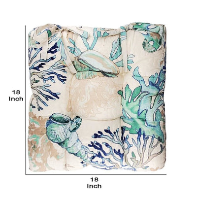 Rome Beach Print Fabric Thick Chair Pad with Tufted Details White and Blue By Casagear Home BM230992
