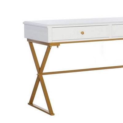 29 2 Drawer Wood and Metal Desk Gold and White By Casagear Home BM231065