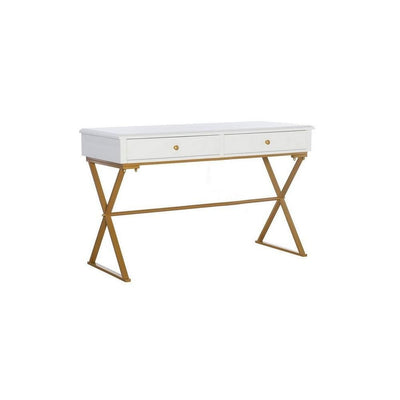 "29"" 2 Drawer Wood and Metal Desk, Gold and White By Casagear Home"