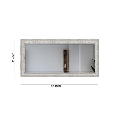 65 X 31 Wall Mirror with Weathered Details White by Casagear Home BM231164