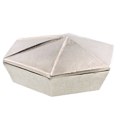 "8"" Origami Shaped Inspired Storage Box, Silver By Casagear Home"