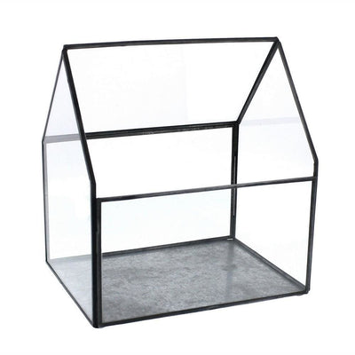 8.75'' Cottage Design Glass Terrarium,Medium, Antique Black By Casagear Home