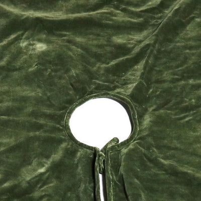 Velvet Tree Skirt with Welt Trim Details Sage Green By Casagear Home BM231291