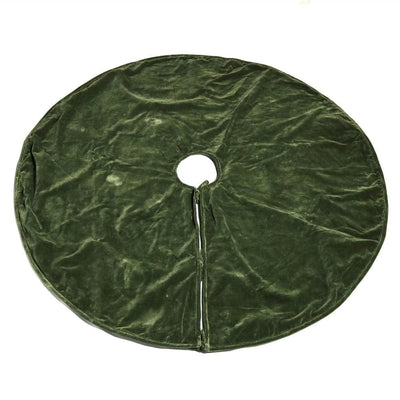 Velvet Tree Skirt with Welt Trim Details, Sage Green By Casagear Home