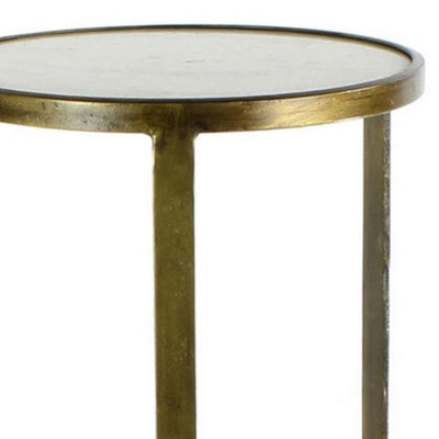 24 Round Marble Top Metal Frame Side Table Antique Brass By Casagear Home BM231296