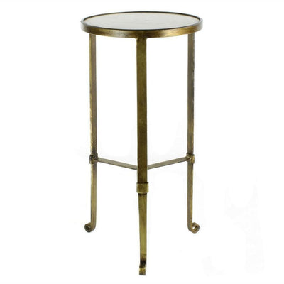 "24"" Round Marble Top Metal Frame Side Table, Antique Brass By Casagear Home"