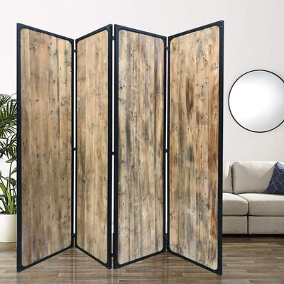 "84"" 4 Panel Metal Frame Room Divider, Black and Brown By Casagear Home"