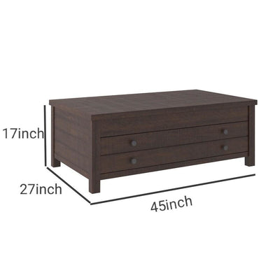 17 1 Drawer Lift Top Wooden Cocktail Table Brown By Casagear Home BM231368