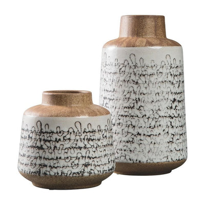 Ceramic Jar Design Vase, Set of 2, Gray and Brown By Casagear Home