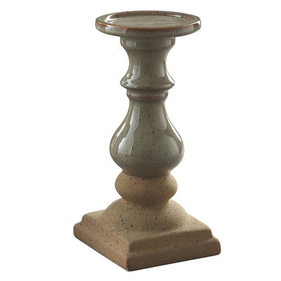 Turned Pedestal Candle Holder Set of 2 Brown and Gray By Casagear Home BM231416