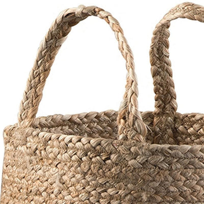 Interwoven Braided Design Jute Basket Set of 2 Brown By Casagear Home BM231422