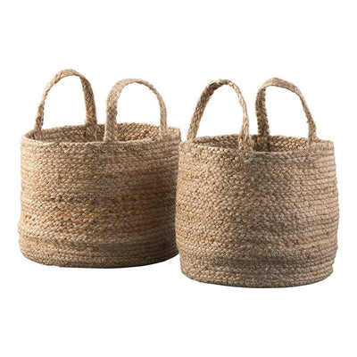 Interwoven Braided Design Jute Basket, Set of 2, Brown By Casagear Home