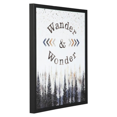 23.6'' WANDER and WONDER Pattern Wall Art, Black By Casagear Home