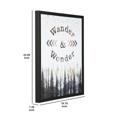 23.6'' WANDER and WONDER Pattern Wall Art Black By Casagear Home BM231428