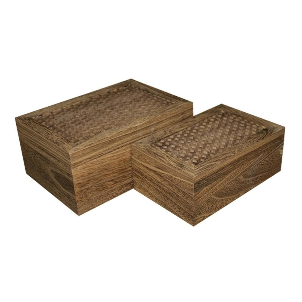 Wooden Storage Box with Intricately Carved Lidded Top, Set of 2, Brown By Casagear Home