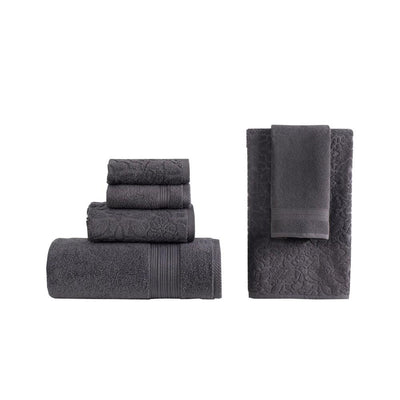 Assisi 6 Piece Jacquard Pattern Towel Set Dark Gray By Casagear Home BM231535