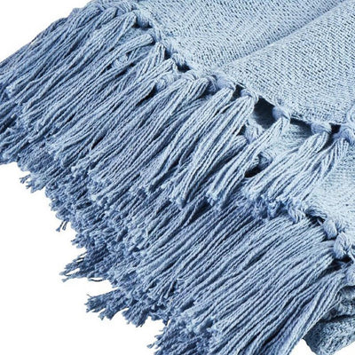 Brno 60 x 50 Waffle Weave Design Fabric Throw Set of 2 Blue By Casagear Home BM231554