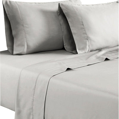 Tulsa 1200 Thread Count Tri Blend 6 Piece Queen Sheet Set, Light Gray  By Casagear Home