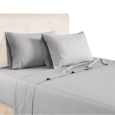 Tulsa 1200 Thread Count Tri Blend 6 Piece Queen Sheet Set, Silver  By Casagear Home