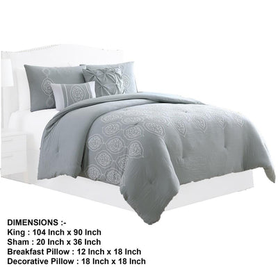 Ohio 5 Piece King Comforter Set with Scrolled Motifs Gray and White by Casagear Home BM231609