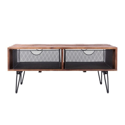 42 Inch Wire Mesh Drawer Foldable Coffee Table Brown and Black By Casagear Home BM231792