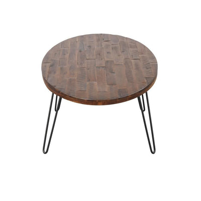 18 Inch Wood and Metal Oval Cocktail Table Brown and Black By Casagear Home BM231796