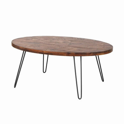 18 Inch Wood and Metal Oval Cocktail Table, Brown and Black By Casagear Home