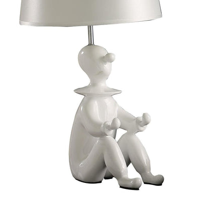 Fabric Shade Table Lamp with Polyresin Sitting Clown Base White By Casagear Home BM231810