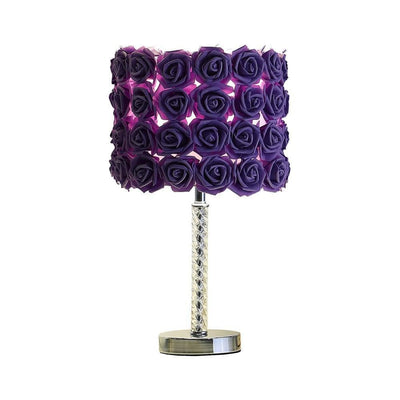 Bloom Roses Drum Shade Table Lamp with Twisted Acrylic Base Purple By Casagear Home BM231815