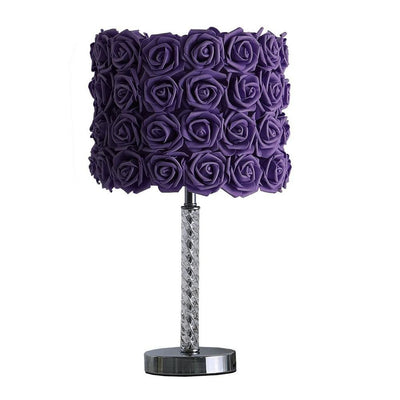 Bloom Roses Drum Shade Table Lamp with Twisted Acrylic Base, Purple By Casagear Home