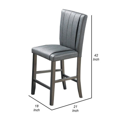 Pleated Design Counter Height Chair with Shimmery Details Set of 2 Gray By Casagear Home BM231838