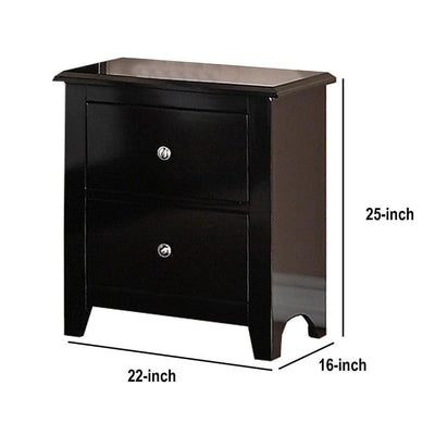 2 Drawer Wooden Nightstand with Metal Knobs Espresso Brown By Casagear Home BM231859
