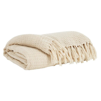 Woven Waffle Design Fabric Throw Blanket with Tassels, Set of 3, Cream By Casagear Home
