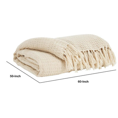 Woven Waffle Design Fabric Throw Blanket with Tassels Set of 3 Cream By Casagear Home BM231908