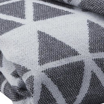 Fabric Throw Blanket with Diamond Pattern Set of 3 Gray By Casagear Home BM231909