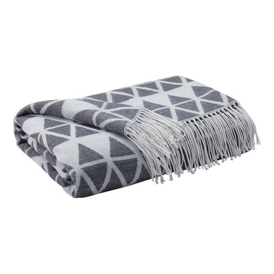Fabric Throw Blanket with Diamond Pattern, Set of 3, Gray By Casagear Home