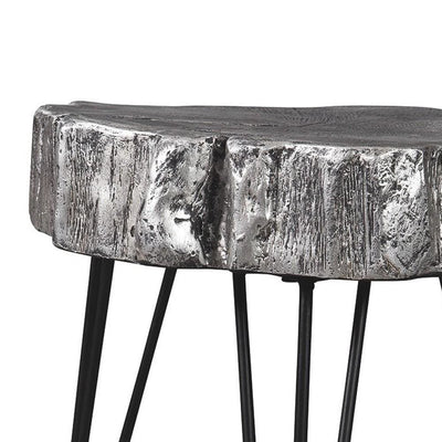 Metal Hairpin Leg Accent Table with Magnesium Oxide Top Gray By Casagear Home BM231914