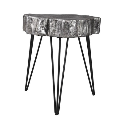 Metal Hairpin Leg Accent Table with Magnesium Oxide Top, Gray By Casagear Home