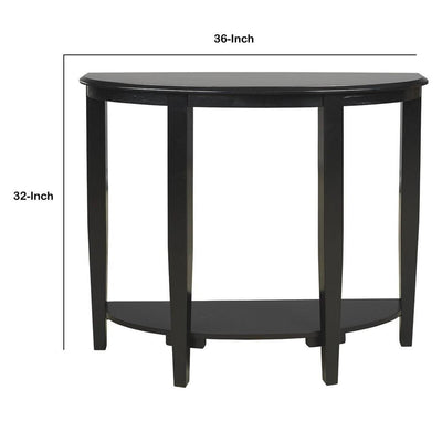 Half Moon Shaped Wooden Console Sofa Table Black By Casagear Home BM231916
