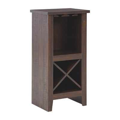 Wooden Wine Cabinet with X Shaped Wine Rack, Dark Brown By Casagear Home