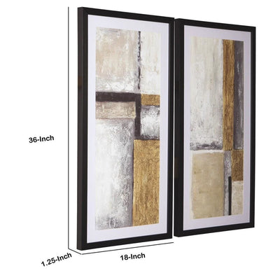 Wooden Frame Wall Art with Abstract Pattern Set of 2 Multicolor By Casagear Home BM231925