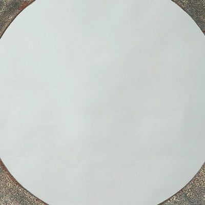30.25 Inches Round Metal Encased Accent Mirror Distressed Gray By Casagear Home BM231933