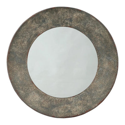 30.25 Inches Round Metal Encased Accent Mirror, Distressed Gray By Casagear Home