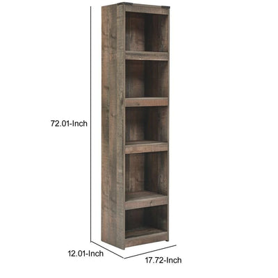 72 Inches 5 Compartment Wooden Pier with Metal Brackets Brown By Casagear Home BM231940