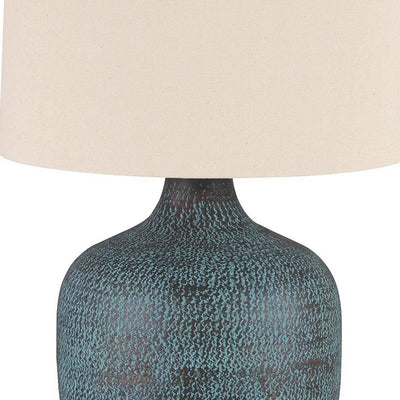 Fabric Shade Table Lamp with Gourd Base White and Blue By Casagear Home BM231944