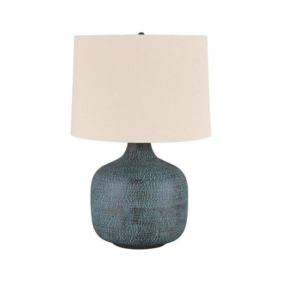 Fabric Shade Table Lamp with Gourd Base, White and Blue By Casagear Home