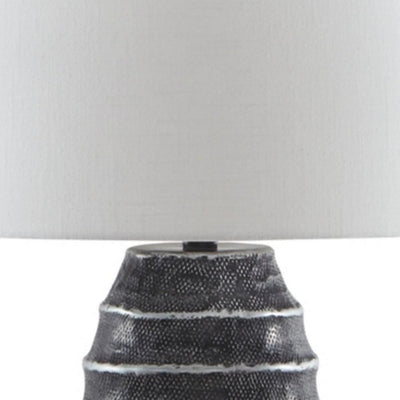 Vase Metal Base Table Lamp with Fabric Shade White and Black By Casagear Home BM231945
