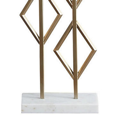 Lattice Frame Table Lamp with Rectangular Shade White and Gold By Casagear Home BM231947